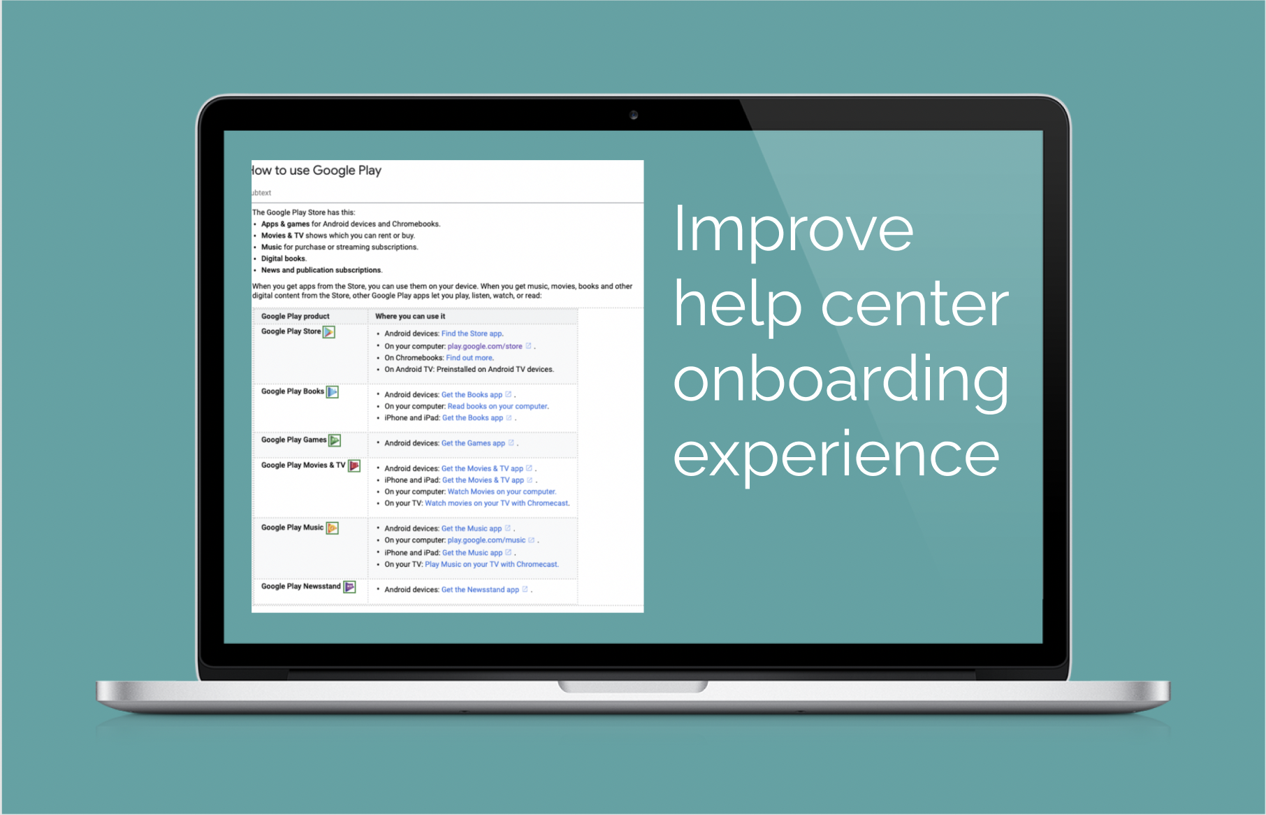 Use content to optimize onboard in help