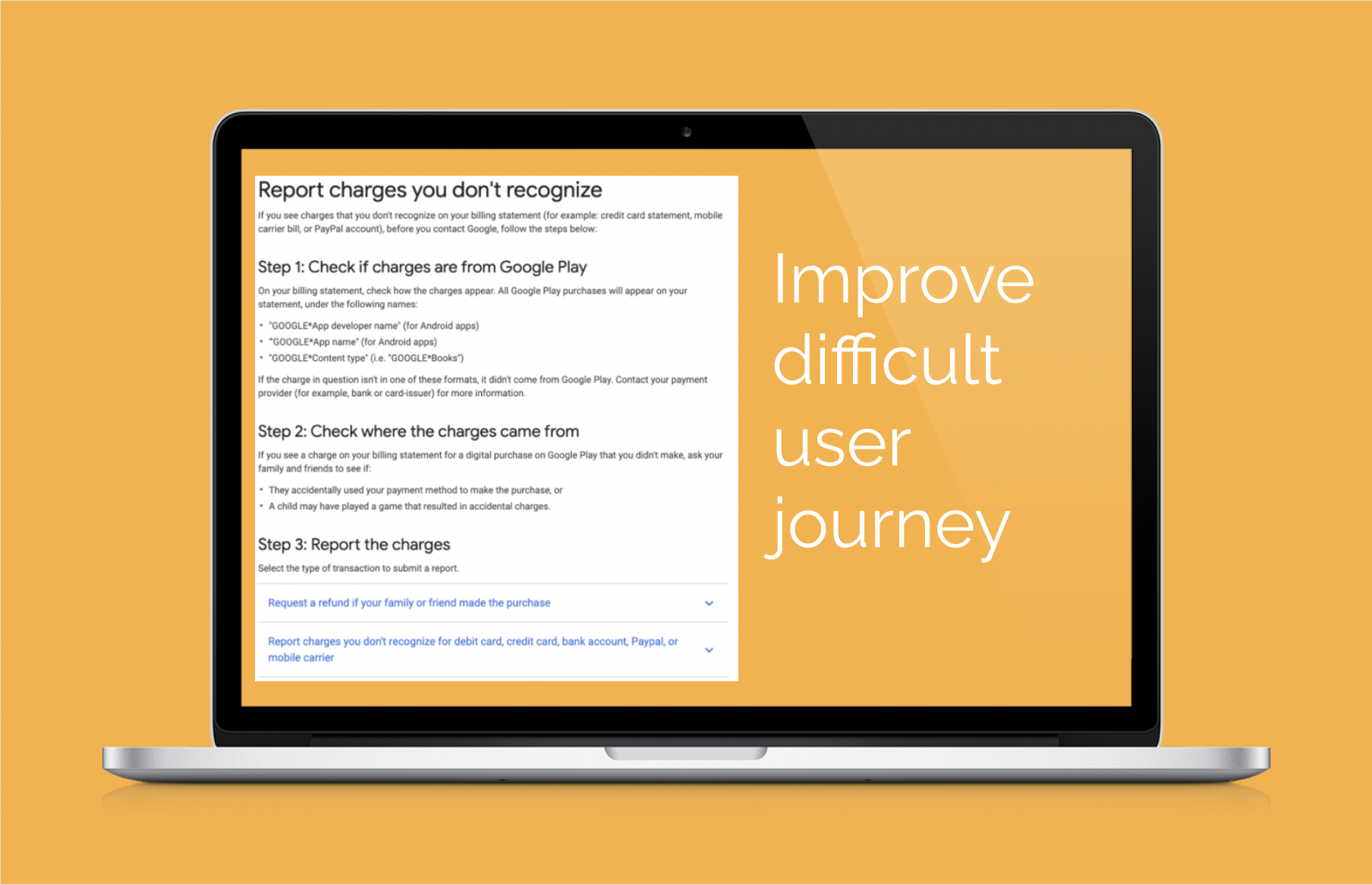Improve user journey for unauthorized charges